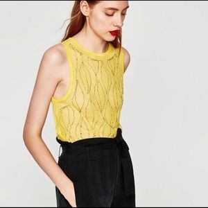 ZARA Yellow Beaded Top